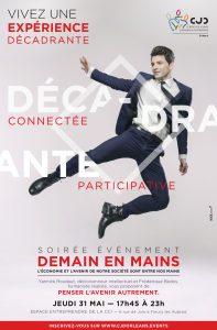 Affiche de la soirée « Demain en mains » organisée par le Centre des Jeunes Dirigeants d'Orléans le jeudi 31 mai 2018